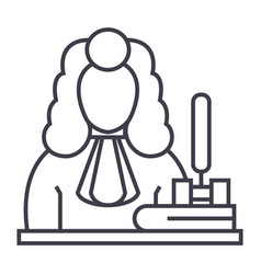 judgegavel line icon sign vector image vector image