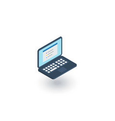 laptop computer notebook isometric flat icon 3d vector image