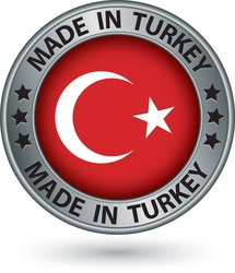 Made in Turkey silver label with flag vector image vector image