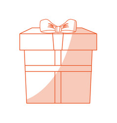 orange shading silhouette cartoon giftbox with vector image