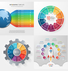 set of 4 infographic templates with 10 processes vector image vector image