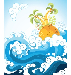tropical island in the ocean in decorative style vector image