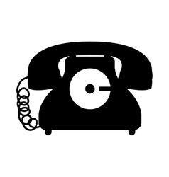 black silhouette antique phone icon with cord vector image