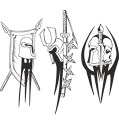 blades and helmets vector image