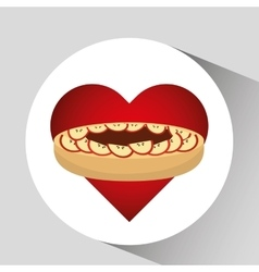 heart cartoon cake apple and sweet chocolate icon vector image
