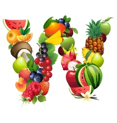 Letter W composed of different fruits with leaves vector image vector image