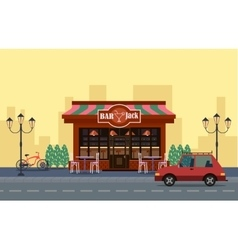 Outside view of cafe Car and bicycle outide vector image vector image
