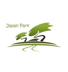 Bonsai garden symbol with pines vector image