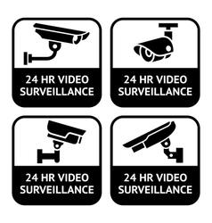 cctv labels set symbol security camera pictogram vector image vector image