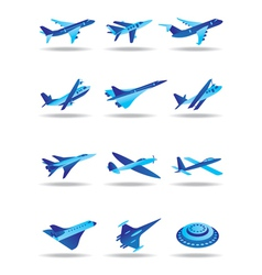 Different airplanes in flight icons set vector image vector image