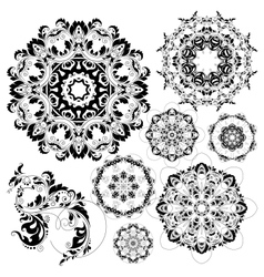 floral circle background and design elements vector image vector image