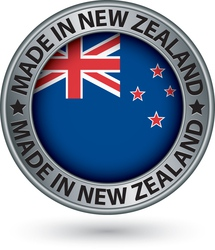 Made in New Zealand silver label with flag vector image vector image