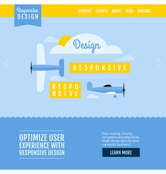 Modern flat website template with planes vector image vector image