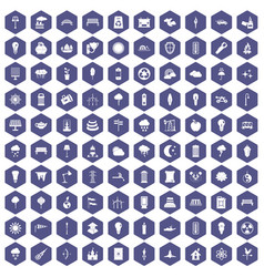 100 street lighting icons hexagon purple vector