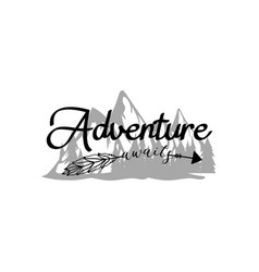 Adventure awaits quote lettering typography vector
