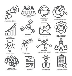 advertising and marketing line icons pack 2 vector image