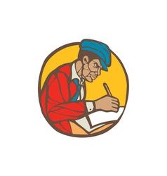 African-American Writer Journalist Woodcut Linocut vector