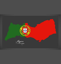 algarve portugal map with portuguese national flag vector image