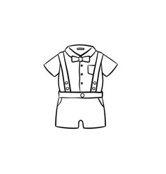 baby shirt and shorts set hand drawn outline vector image
