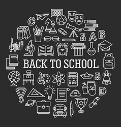 Back to school circle icon set vector