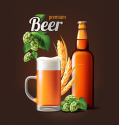beer poster template for classic white beer ad vector image