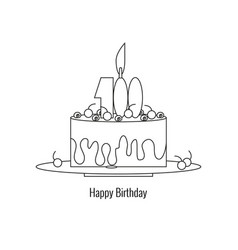 big cake on plate - happy birthday vector image