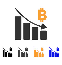 Bitcoin recession bar chart icon vector