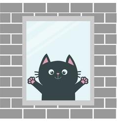 black cat in window house brick wall open vector image