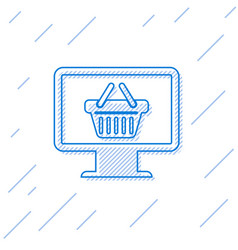 blue computer monitor with shopping basket line vector image