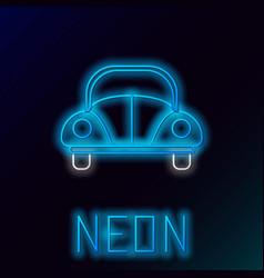 Blue glowing neon line car volkswagen beetle icon vector