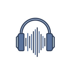 Blue headphones with sound wave icon vector