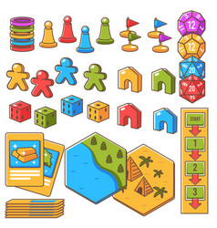 board game set figures with dices and play cards vector image