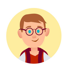boy in spectacle glasses pic in round web button vector image