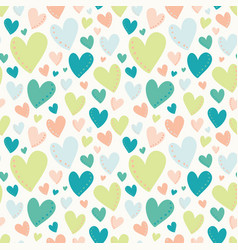 bright hearts green peach teal seamless vector image