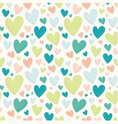 Bright hearts green peach teal seamless vector