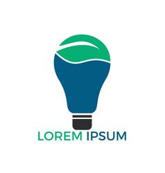 bulb lamp leaf logo vector image