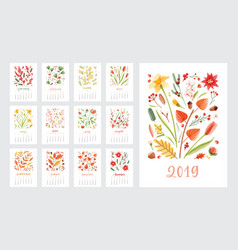 calendar for 2019 year set page templates vector image