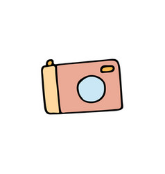 camera cartoon hand drawn icon vector image