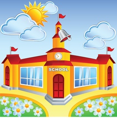 Cartoon school building vector