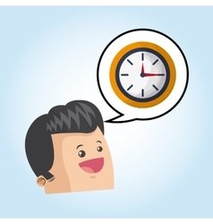 cartoon with bubble design clock icon time vector image