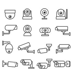 cctv camera line icons set vector image