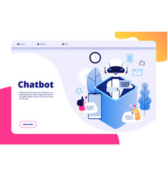 chatbot concept chat with android woman man vector image