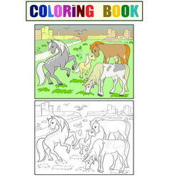 Children coloring cartoon horses grazing on meadow vector