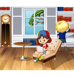 Children hanging out in the living room vector