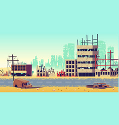 City in war zone cartoon background vector