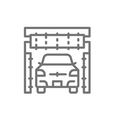 Cleaning brushes in portal carwash line icon vector