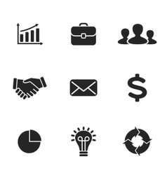 Collection of flat business icons vector image