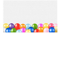 Colorful balloons border with transparent vector