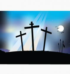 crucifixion night scene vector image