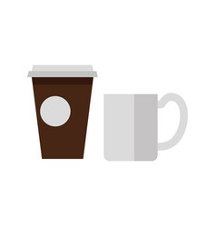 Cups of tea and coffee icons vector